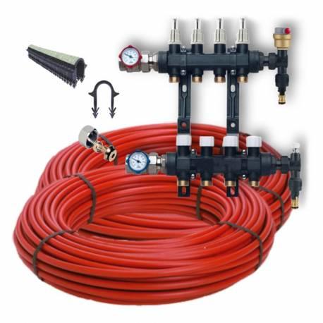 Kit plancher chauffant hydraulique 30 à 120 m²  collecteur résine, tube PER BAO