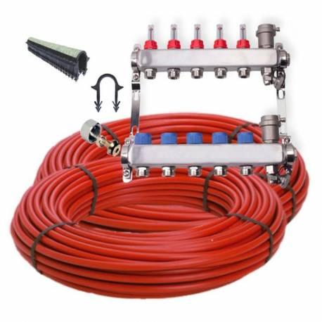 Kit plancher chauffant hydraulique 30 à 120 m²  Inox, tube PER