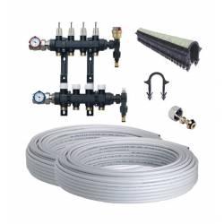 Kit plancher chauffant hydraulique 30 à 120 m²  Collecteur résine, tube Multicouche
