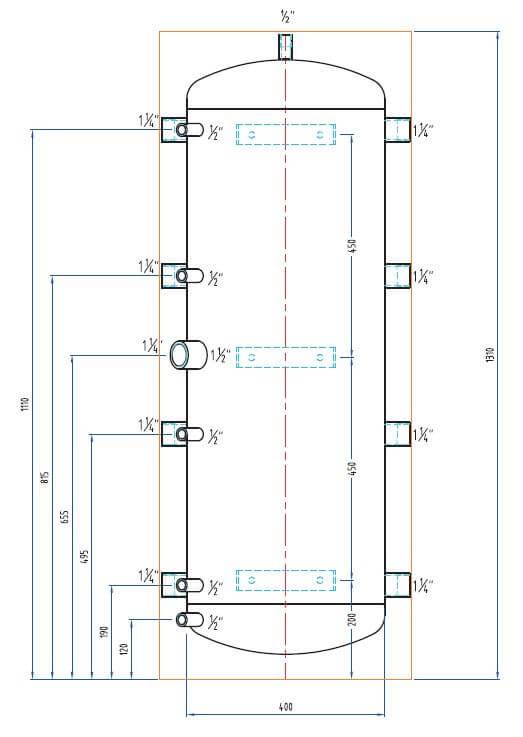 Dimensions schéma bouteille de mélange PAC 150L