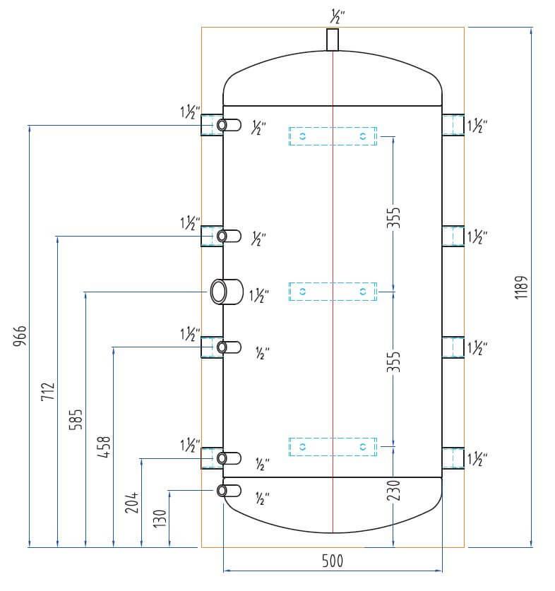 schéma dimensions bouteille de mélange PAC 200 L