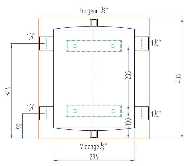 Schéma dimensions bouteille mélange tampon PAC 25L