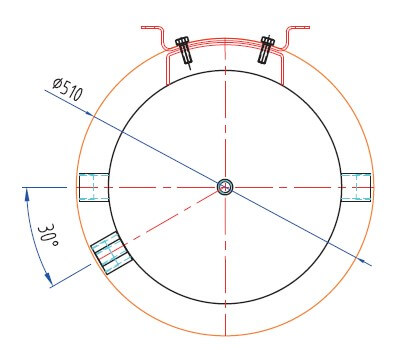 Dimensions dessus tampon PAC 100 L