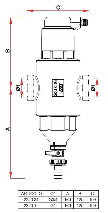 Dimensions Pot a boue - Dégazeur