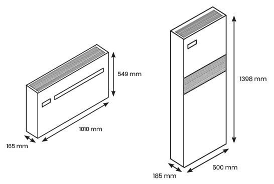 Dimensions du klimea horizontal et vertical