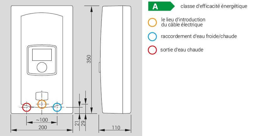 Croquis du chauffe eau électrique instantané à puissance réglable 5,5 à 9 kW avec écran LCD