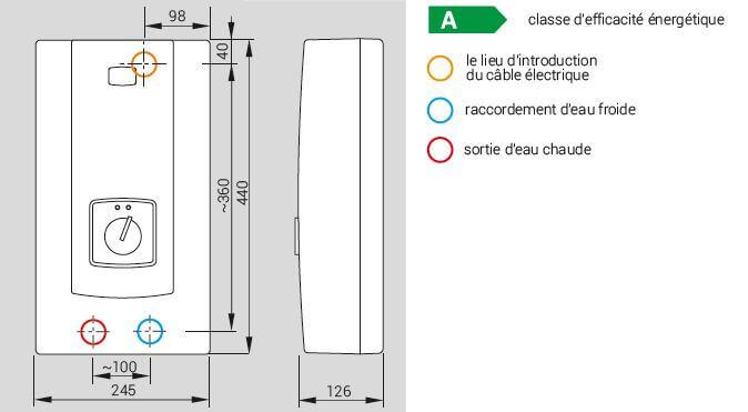 Croquis du chauffe eau électrique instantané à puissance réglable 9 à 27 kW avec écran LCD