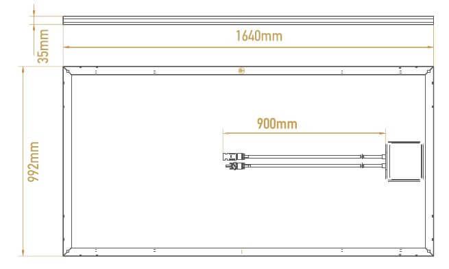 Schéma de dimensions des panneaux solaires photovoltaiques monocristallins Recom full black 300 Wc