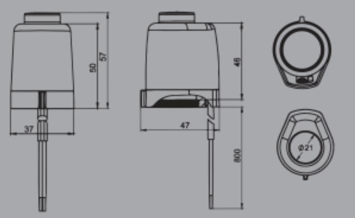 Dimensions de la tête électrothermique en vente en ligne