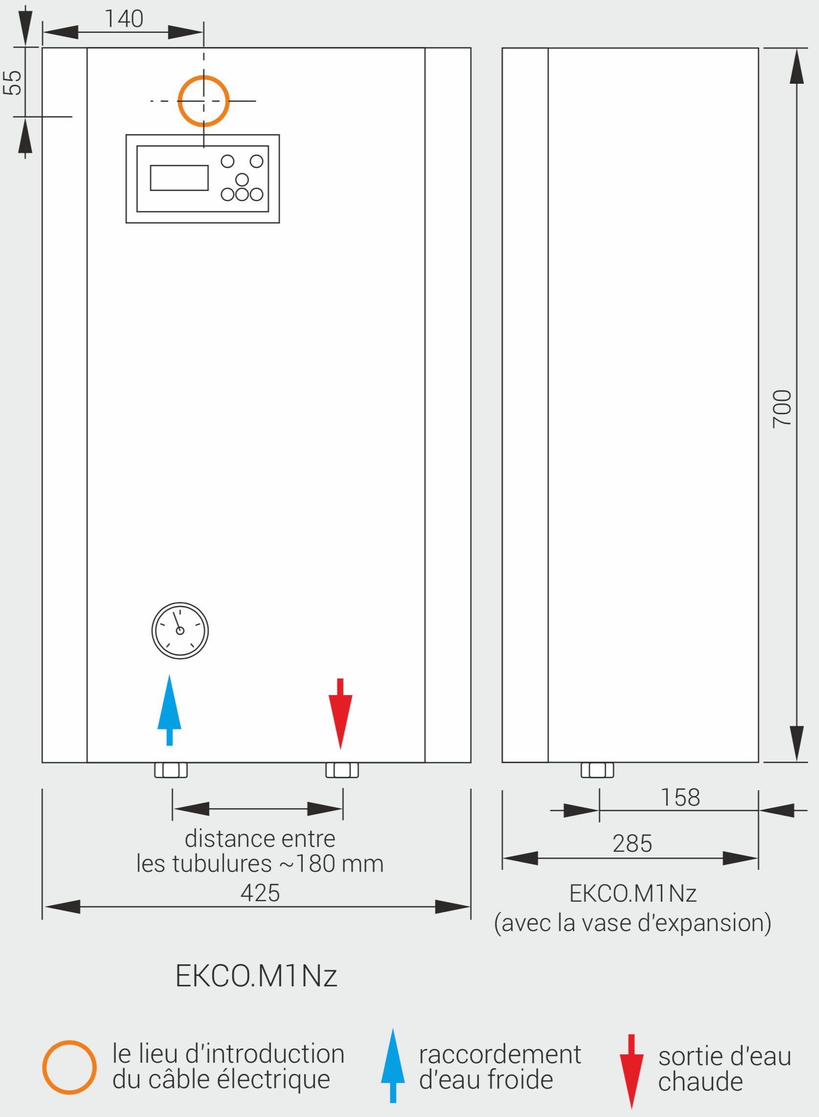 Dimensions de la chaudière Kospel EKCO.M1Nz