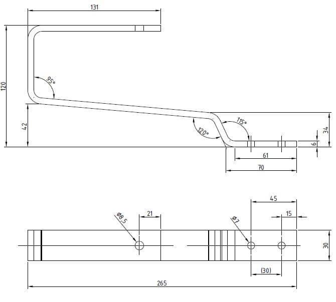Dimensions support pour tuiles mécaniques paysage