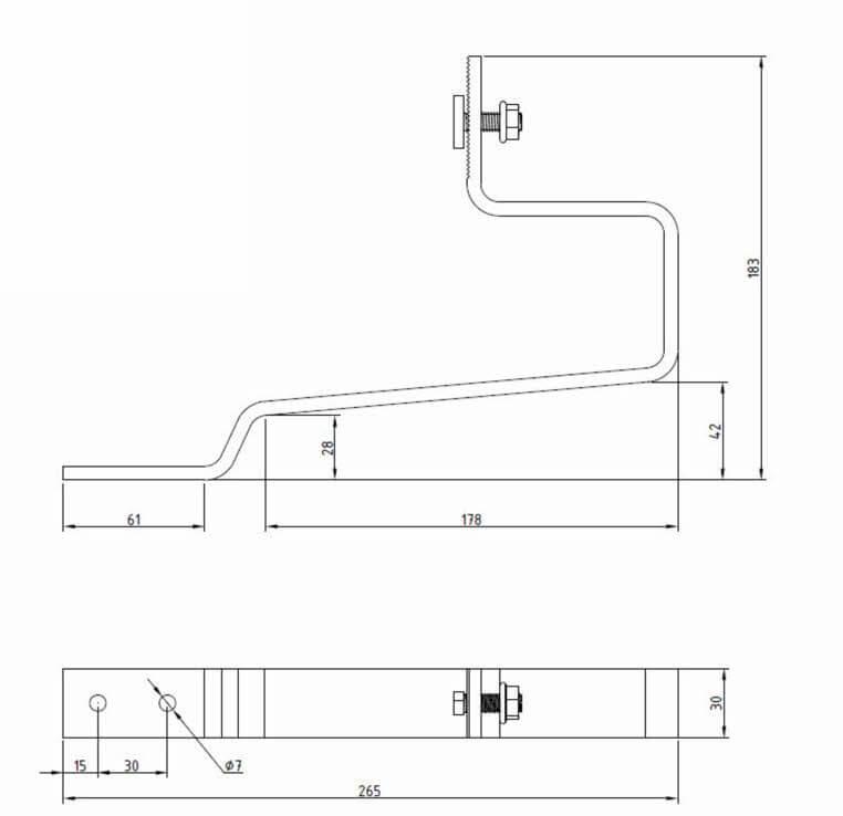 Dimensions support tuiles mécaniques orientation portrait