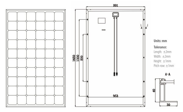 schema dimensions panneau solaire