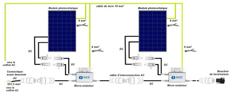 schema installation micro onduleur